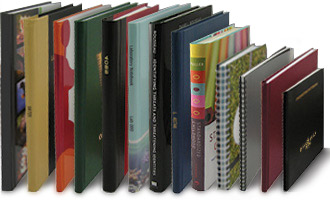 custom books in a variety of binding styles and cover materials